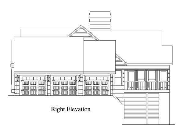 163-1011: Home Plan Right Elevation