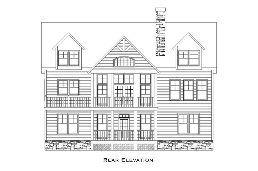 Home Plan Rear Elevation of this 3-Bedroom,2079 Sq Ft Plan -163-1015