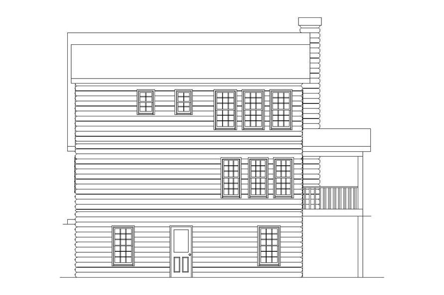Home Plan Rear Elevation of this 2-Bedroom,1314 Sq Ft Plan -163-1017