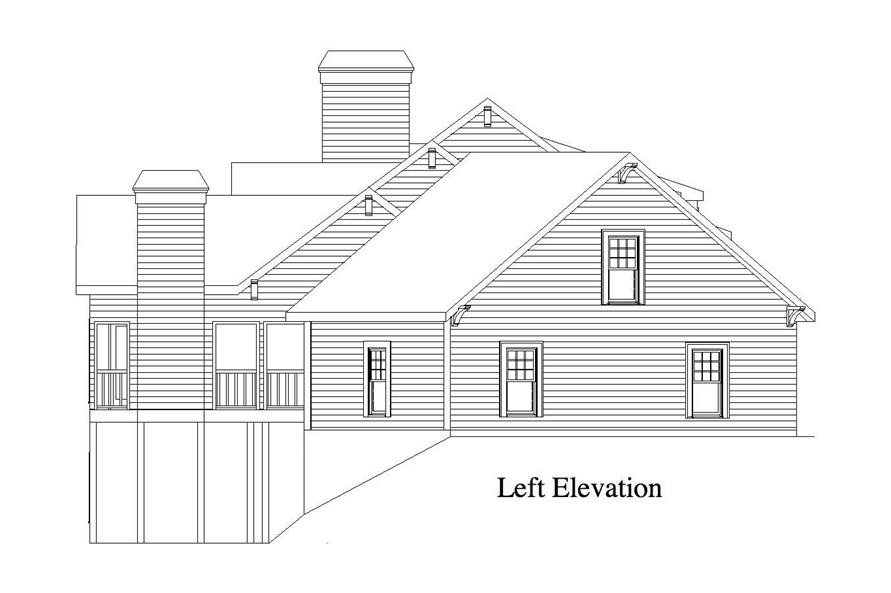 Home Plan Left Elevation of this 4-Bedroom,3886 Sq Ft Plan -163-1020