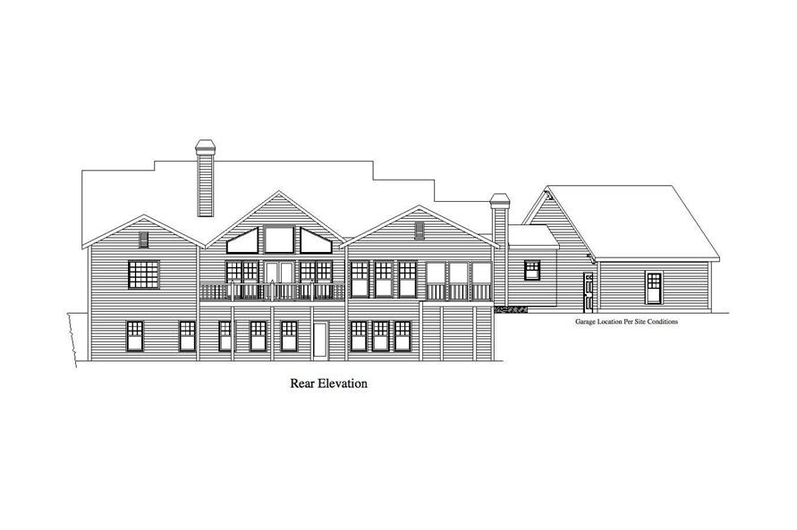 Home Plan Rear Elevation of this 4-Bedroom,3886 Sq Ft Plan -163-1020