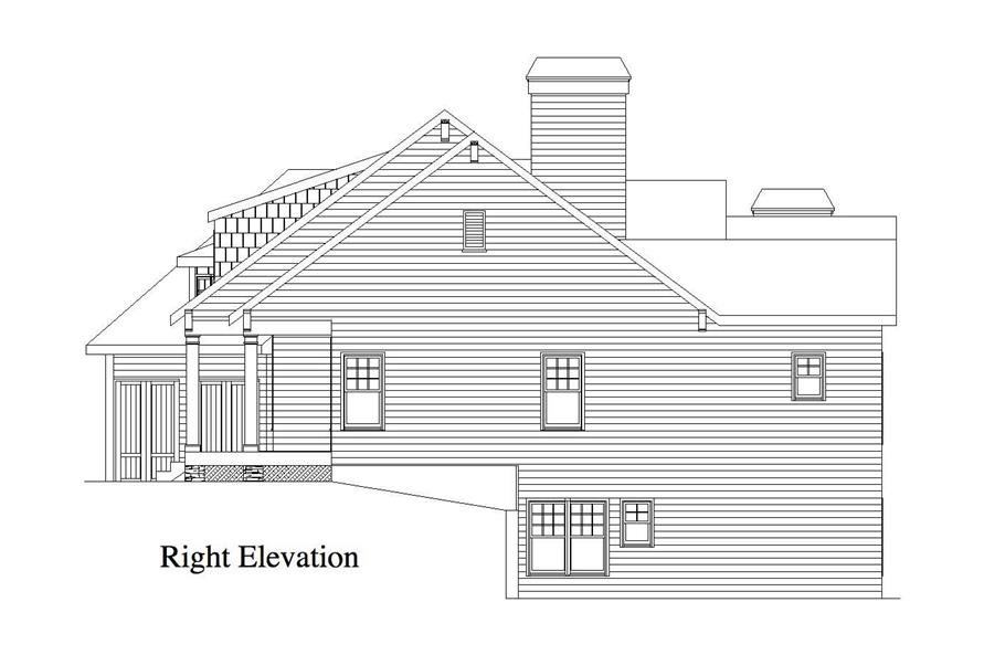 Home Plan Right Elevation of this 4-Bedroom,3886 Sq Ft Plan -163-1020