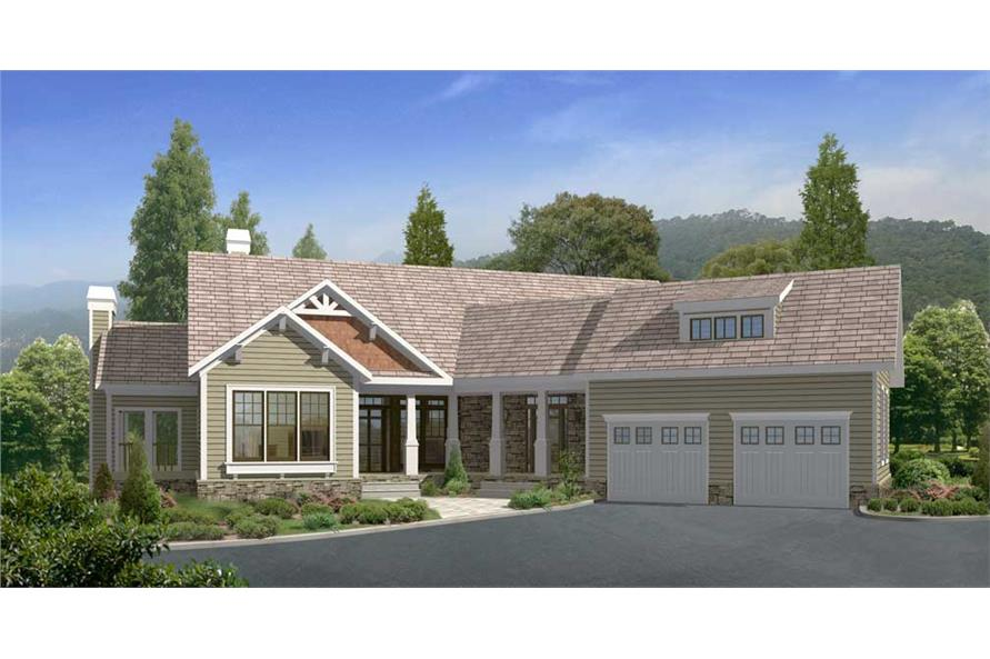 This is a computerized rendering of these Craftsman Home Plans.