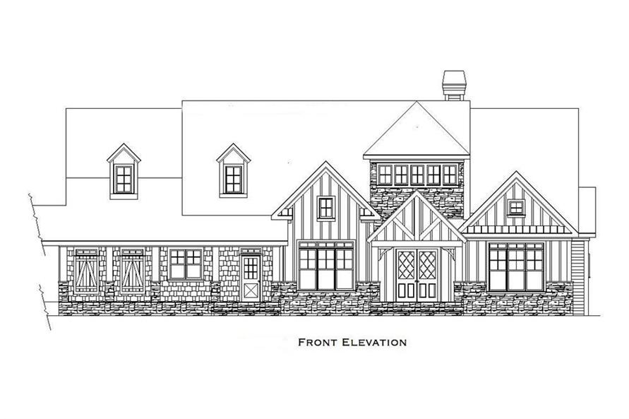 Home Plan Front Elevation of this 4-Bedroom,6765 Sq Ft Plan -163-1027