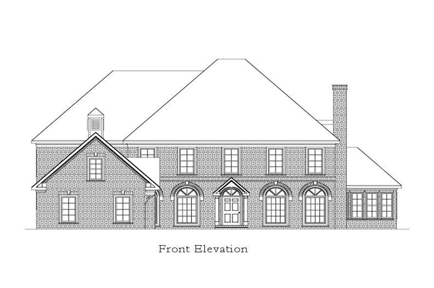 Home Plan Front Elevation of this 5-Bedroom,6261 Sq Ft Plan -163-1028