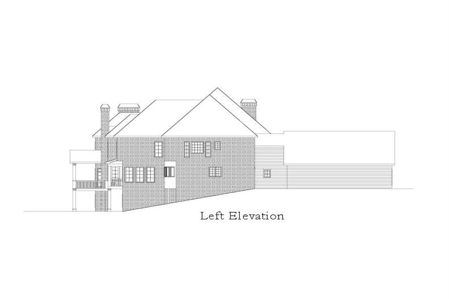Home Plan Left Elevation of this 5-Bedroom,6261 Sq Ft Plan -163-1028