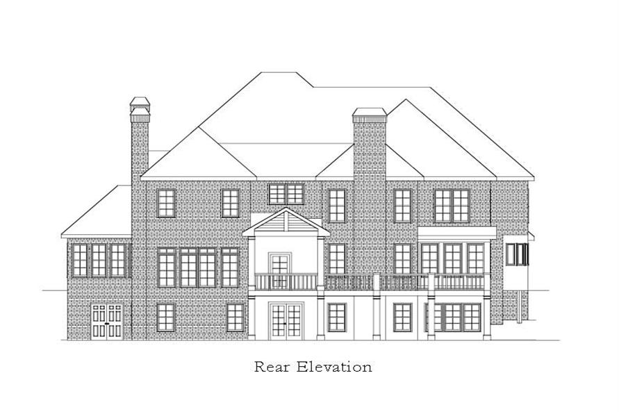 Home Plan Rear Elevation of this 5-Bedroom,6261 Sq Ft Plan -163-1028