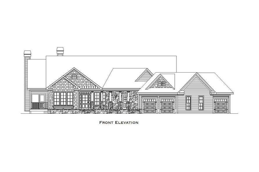 Home Plan Front Elevation of this 4-Bedroom,3504 Sq Ft Plan -163-1033