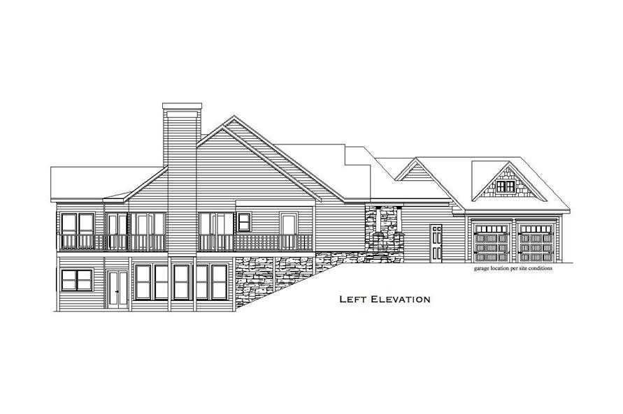 Home Plan Left Elevation of this 4-Bedroom,3504 Sq Ft Plan -163-1033