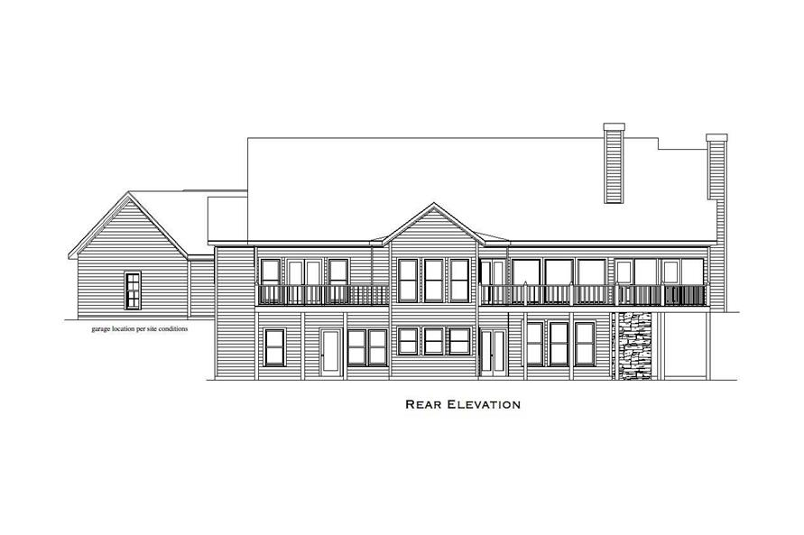 Home Plan Rear Elevation of this 4-Bedroom,3504 Sq Ft Plan -163-1033