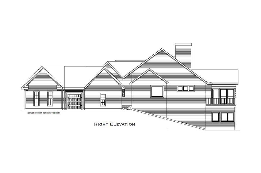 Home Plan Right Elevation of this 4-Bedroom,3504 Sq Ft Plan -163-1033