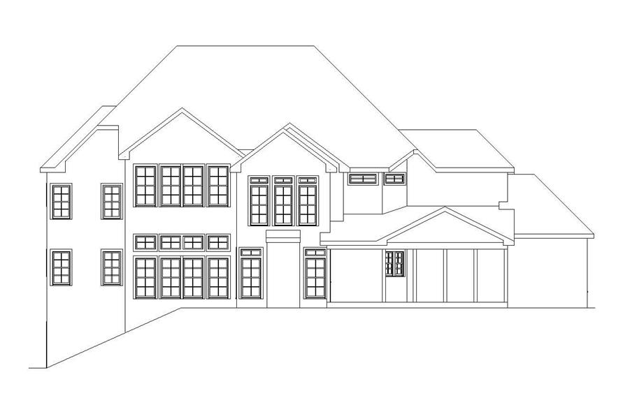 Home Plan Rear Elevation of this 5-Bedroom,4636 Sq Ft Plan -163-1034
