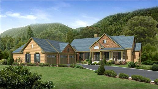 This is a computer rendering of these Craftsman Home Plans.