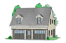 This is a colored 3D rendering of these Garage Plans.