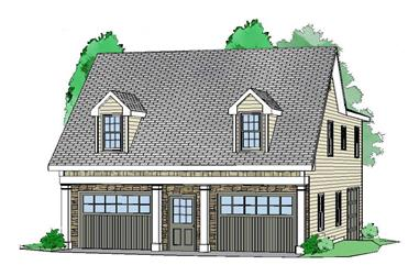 2-Bedroom, 1208 Sq Ft Garage w/Apartments House Plan - 163-1036 - Front Exterior