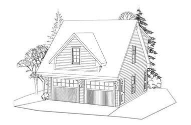 1-Bedroom, 507 Sq Ft Garage w/Apartments House Plan - 163-1039 - Front Exterior