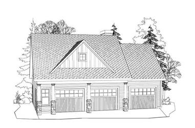 1-Bedroom, 796 Sq Ft Garage w/Apartments House Plan - 163-1040 - Front Exterior