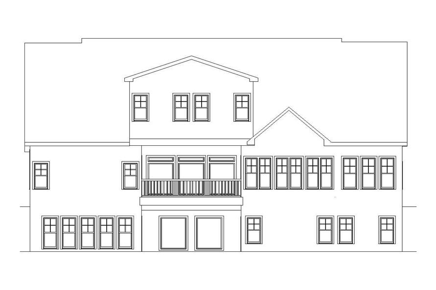 Home Plan Rear Elevation of this 6-Bedroom,5628 Sq Ft Plan -163-1047