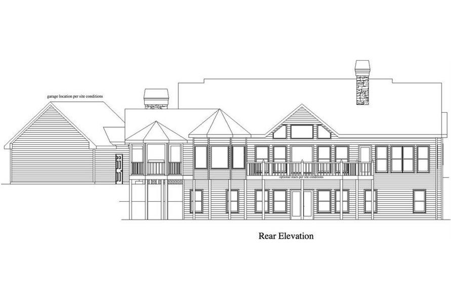 Home Plan Rear Elevation of this 4-Bedroom,3231 Sq Ft Plan -163-1048