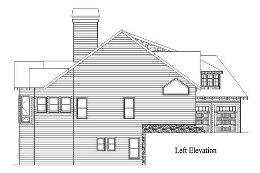 Home Plan Left Elevation of this 4-Bedroom,3332 Sq Ft Plan -163-1050