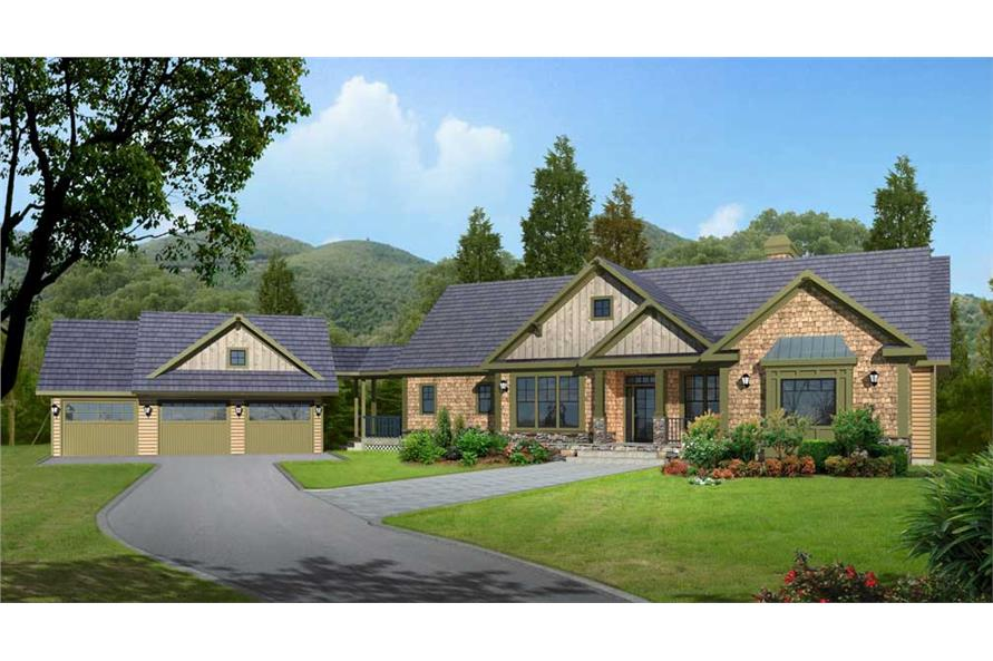 Home Plan Rendering of this 5-Bedroom,4225 Sq Ft Plan -163-1052