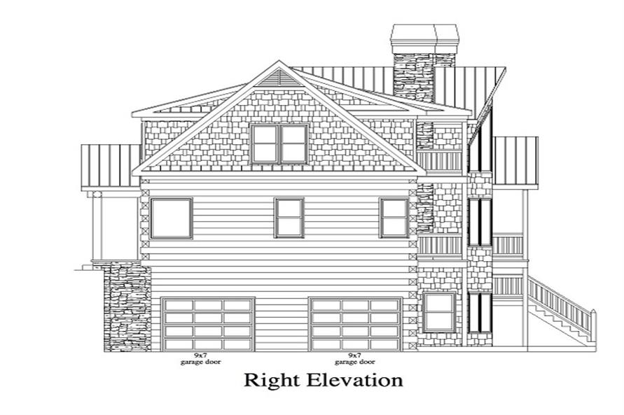 163-1053 house plan right elevation