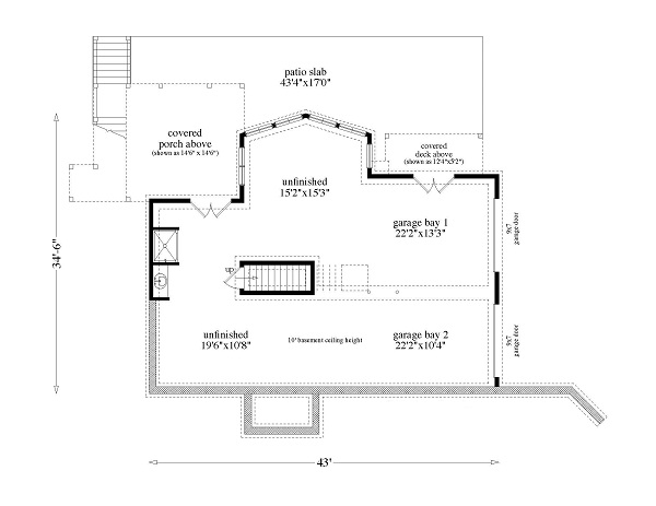 163-1053 house plan basement level