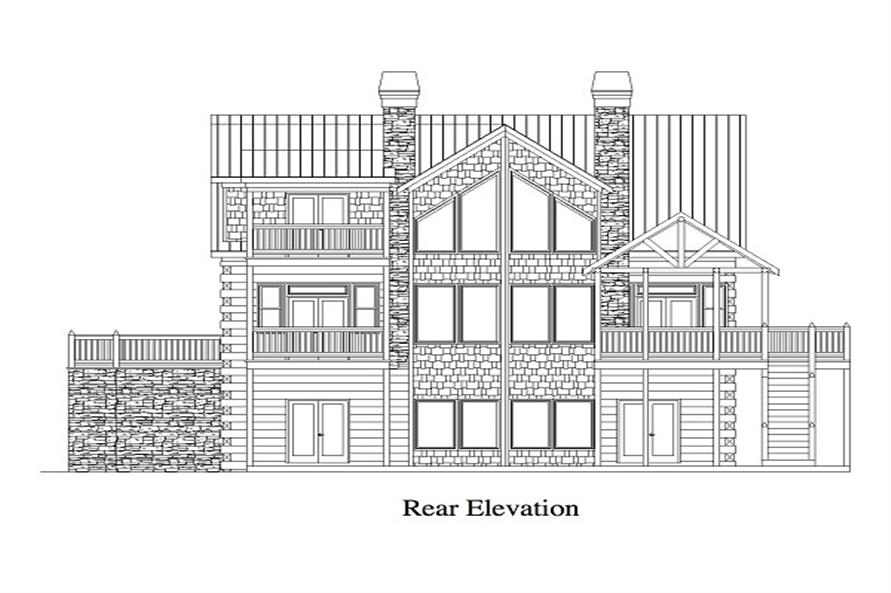 163-1053 house plan rear elevation