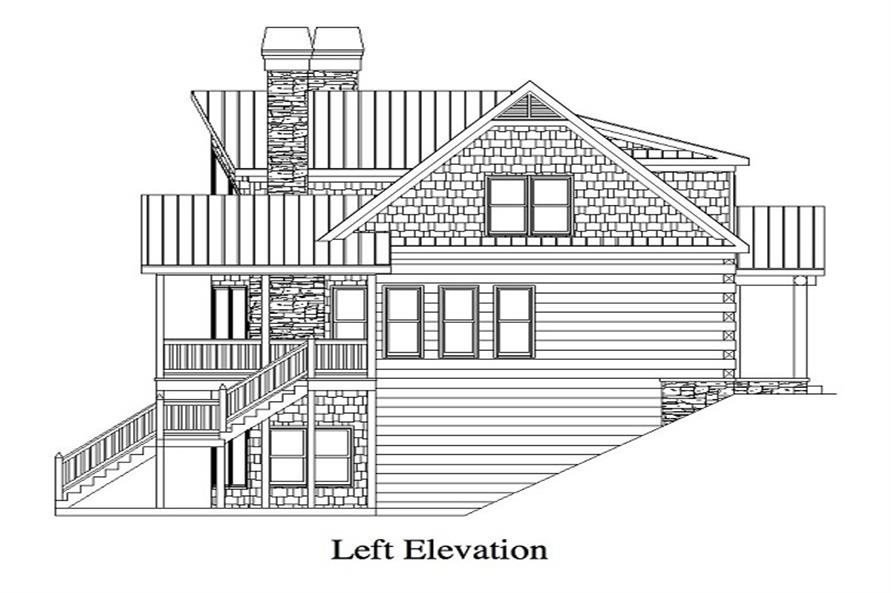 163-1053 house plan left elevation