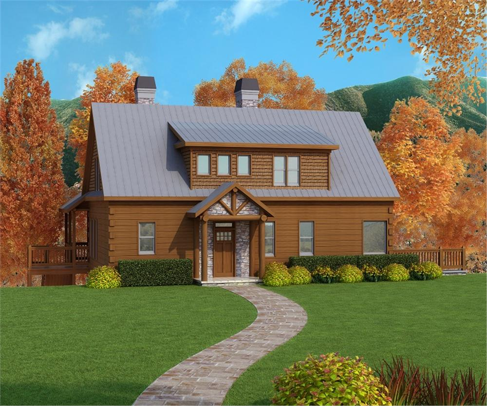 cabin house plan front elevation 163-1053
