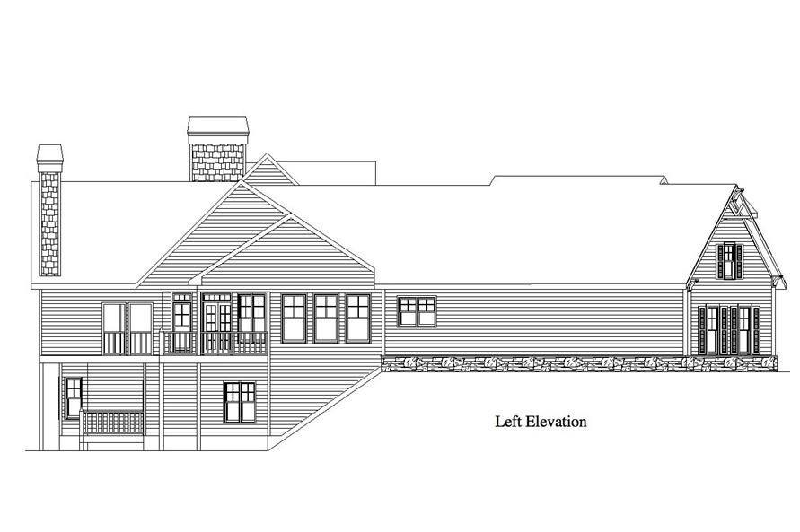 Home Plan Left Elevation of this 4-Bedroom,3763 Sq Ft Plan -163-1054