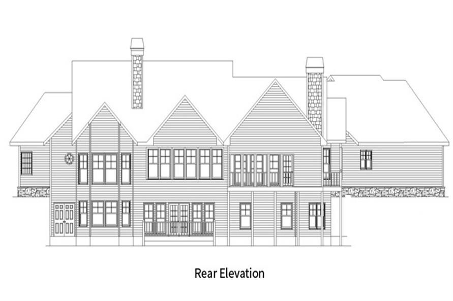 Home Plan Rear Elevation of this 4-Bedroom,3763 Sq Ft Plan -163-1054