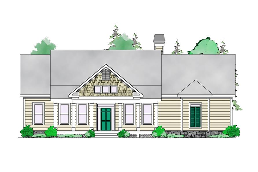 Front elevation of Craftsman home (ThePlanCollection: House Plan #163-1056)