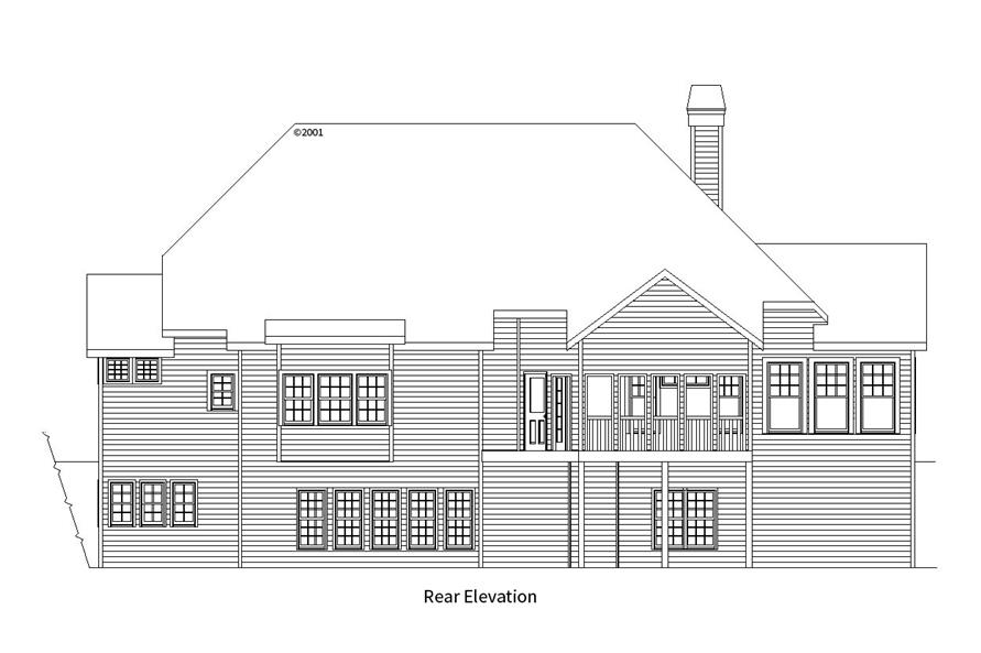 163-1057: Home Plan Rear Elevation