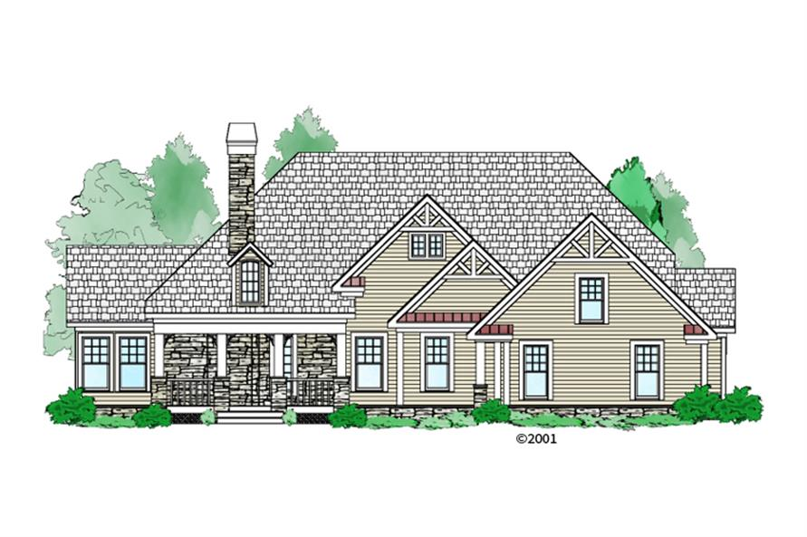 Front elevation of Craftsman home (ThePlanCollection: House Plan #163-1057)