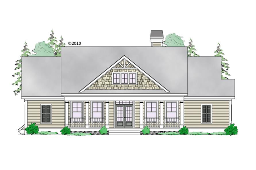 Front elevation of Craftsman home (ThePlanCollection: House Plan #163-1058)