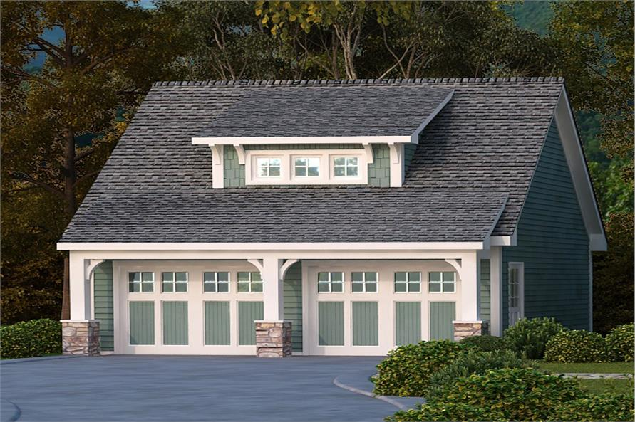 Front elevation of Garage home (ThePlanCollection: House Plan #163-1059)