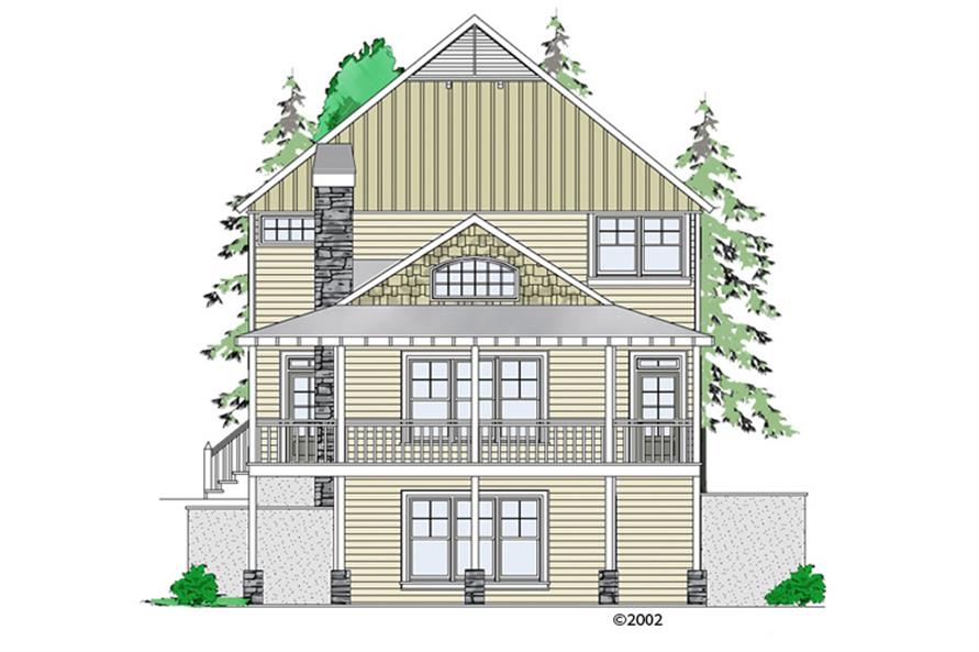 Front elevation of Craftsman home (ThePlanCollection: House Plan #163-1061)