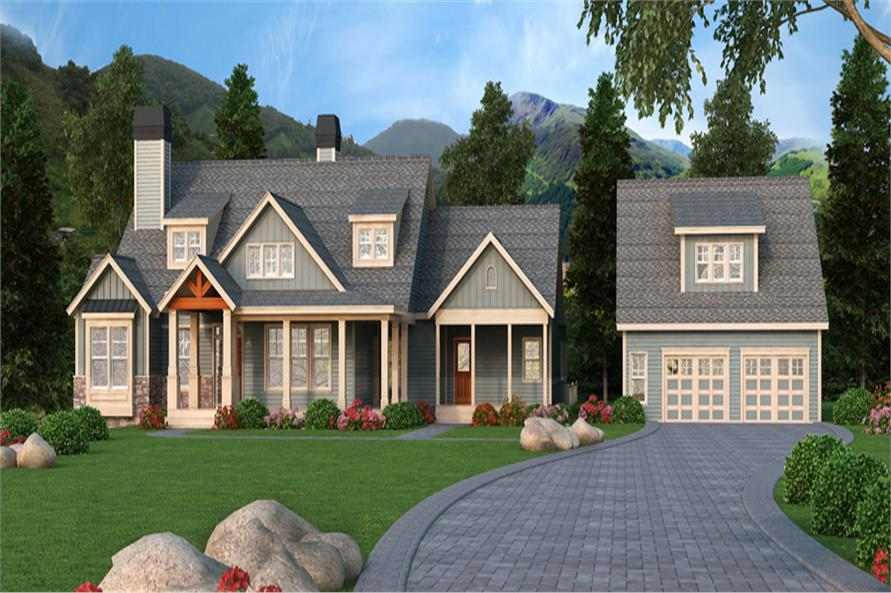 Front elevation of Craftsman home (ThePlanCollection: House Plan #163-1063)