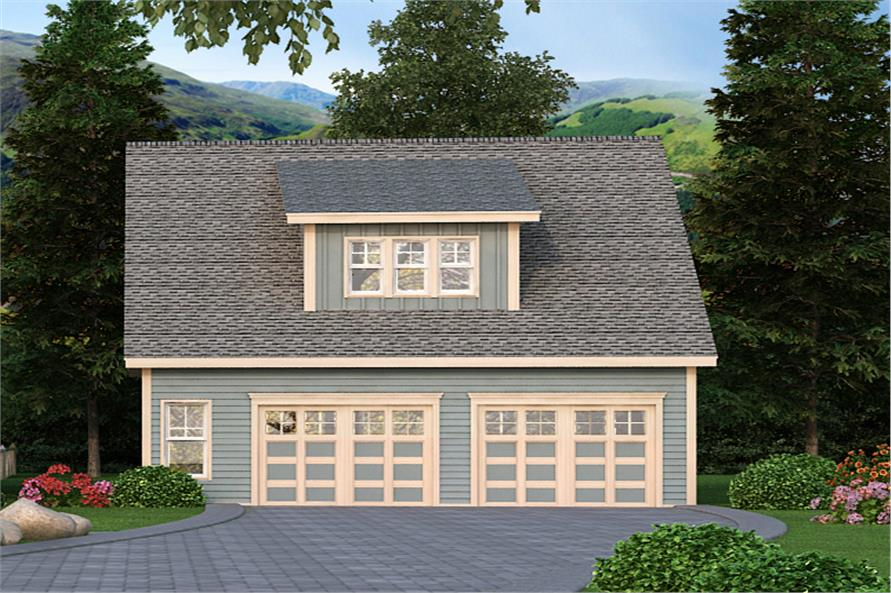 Front elevation of Garage home (ThePlanCollection: House Plan #163-1064)