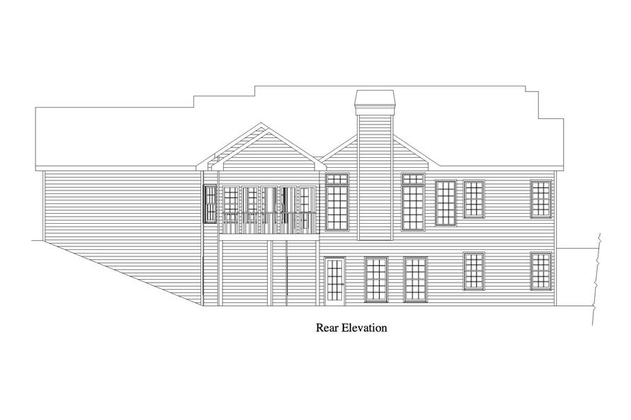 163-1065: Home Plan Rear Elevation
