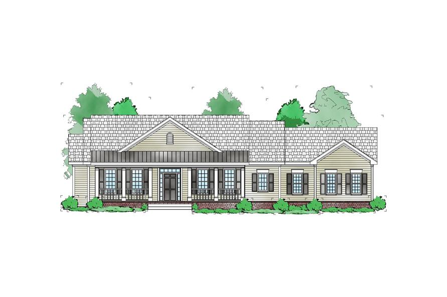Front elevation of Ranch home (ThePlanCollection: House Plan #163-1065)