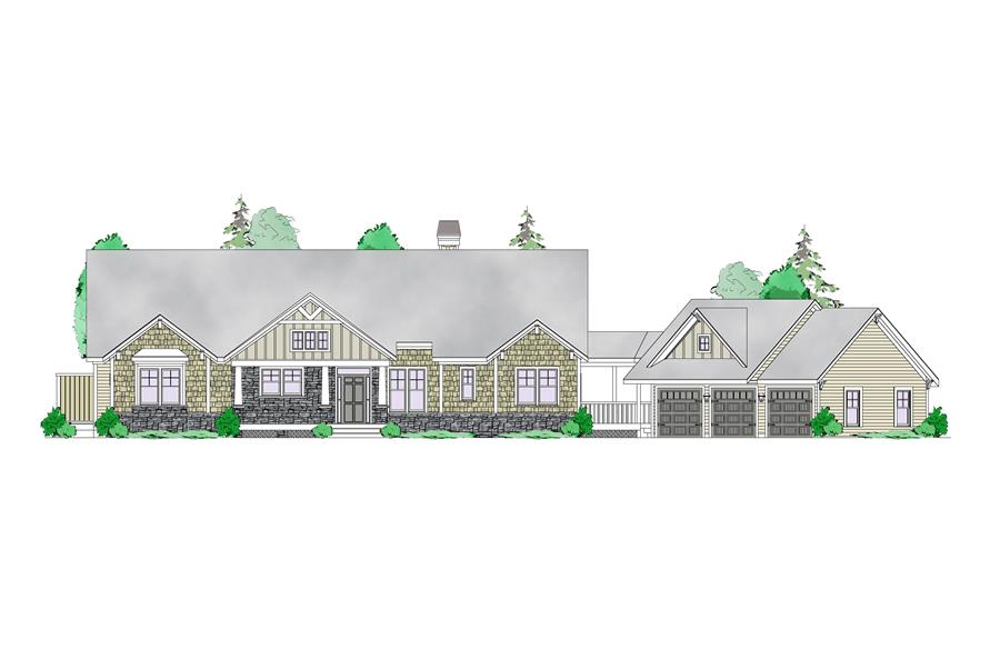 Front elevation of Craftsman home (ThePlanCollection: House Plan #163-1066)