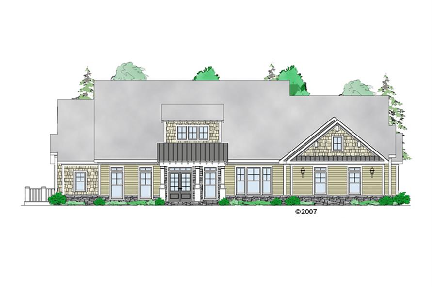 Front elevation of Craftsman home (ThePlanCollection: House Plan #163-1067)