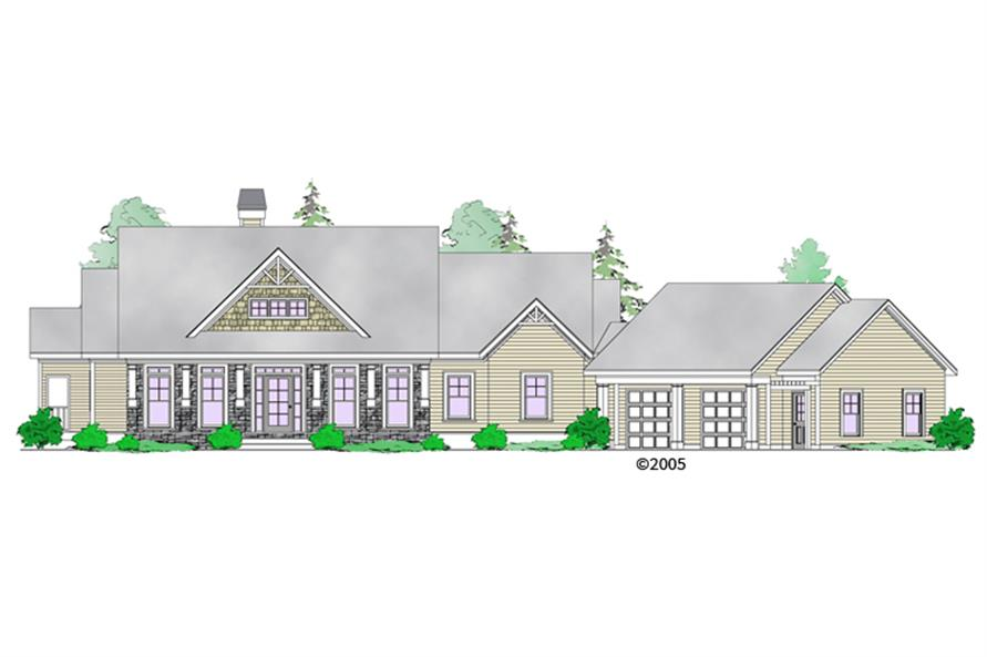 Front elevation of Craftsman home (ThePlanCollection: House Plan #163-1068)