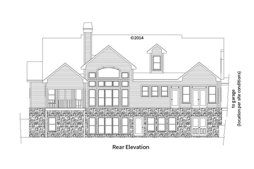 163-1069: Home Plan Rear Elevation