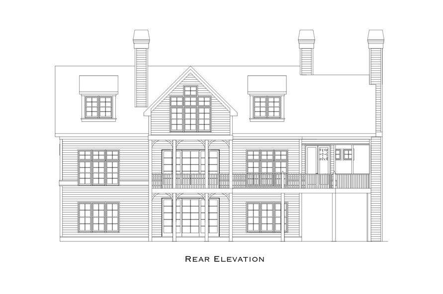 163-1070: Home Plan Rear Elevation