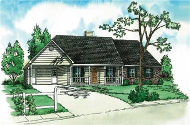 3-Bedroom, 1172 Sq Ft Country House Plan - 164-1030 - Front Exterior