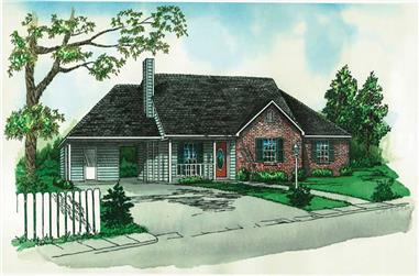 3-Bedroom, 1128 Sq Ft Country House Plan - 164-1032 - Front Exterior