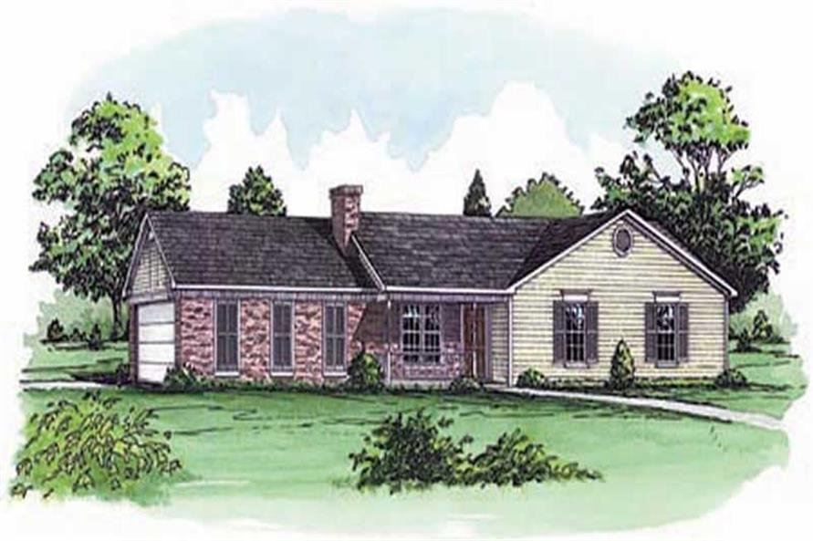 3-Bedroom, 1263 Sq Ft Country House Plan - 164-1033 - Front Exterior